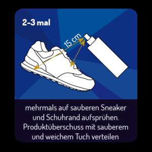 mehrmals auf sauberen Sneaker und Schuhrand aufsprühen. Produktüberschuss mit sauberem und weichem Tuch verteilen