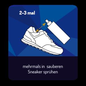 mehrmals in sauberen Sneaker sprühen